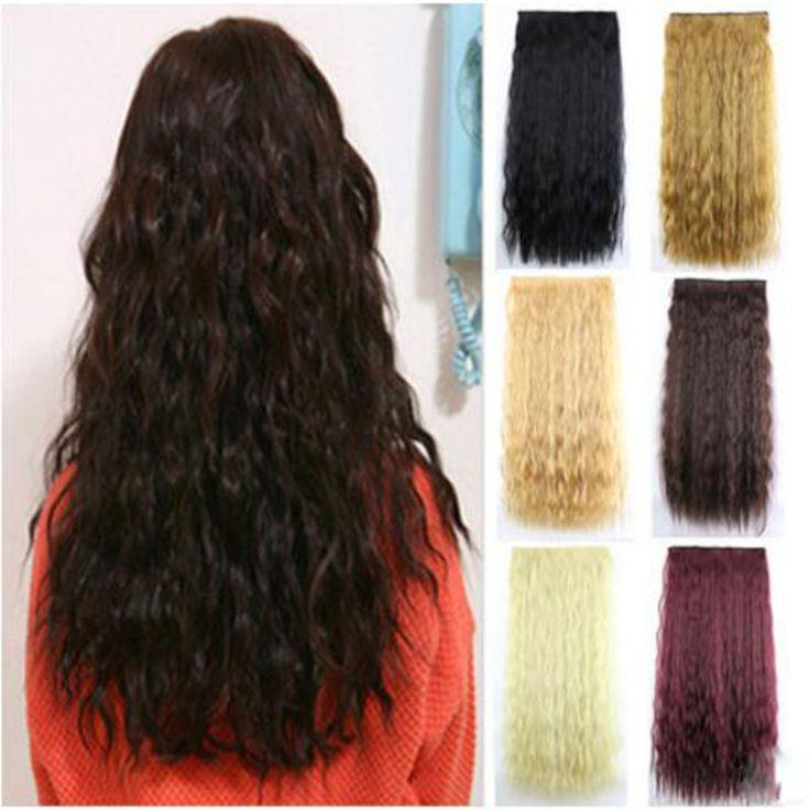 60 см 110 г Синтетический Волос Длинные Вьющиеся Хвост Дамы 'Клип В Наращивание Волос Природный Кукуруза Волнистые Наращивание Волос 14 Цветов доступны
