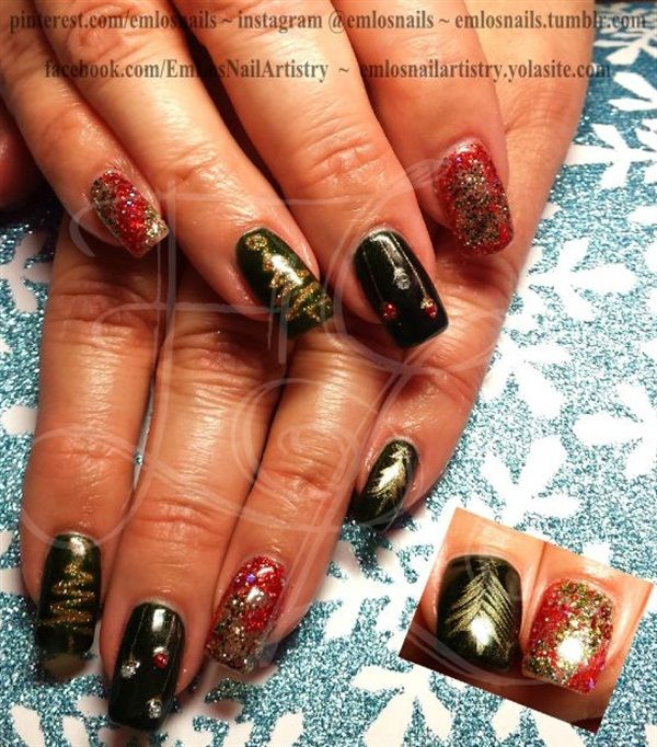Hand Painted Christmas Nail Art: 541 Best Images About Christmas Nail Art On Pinterest