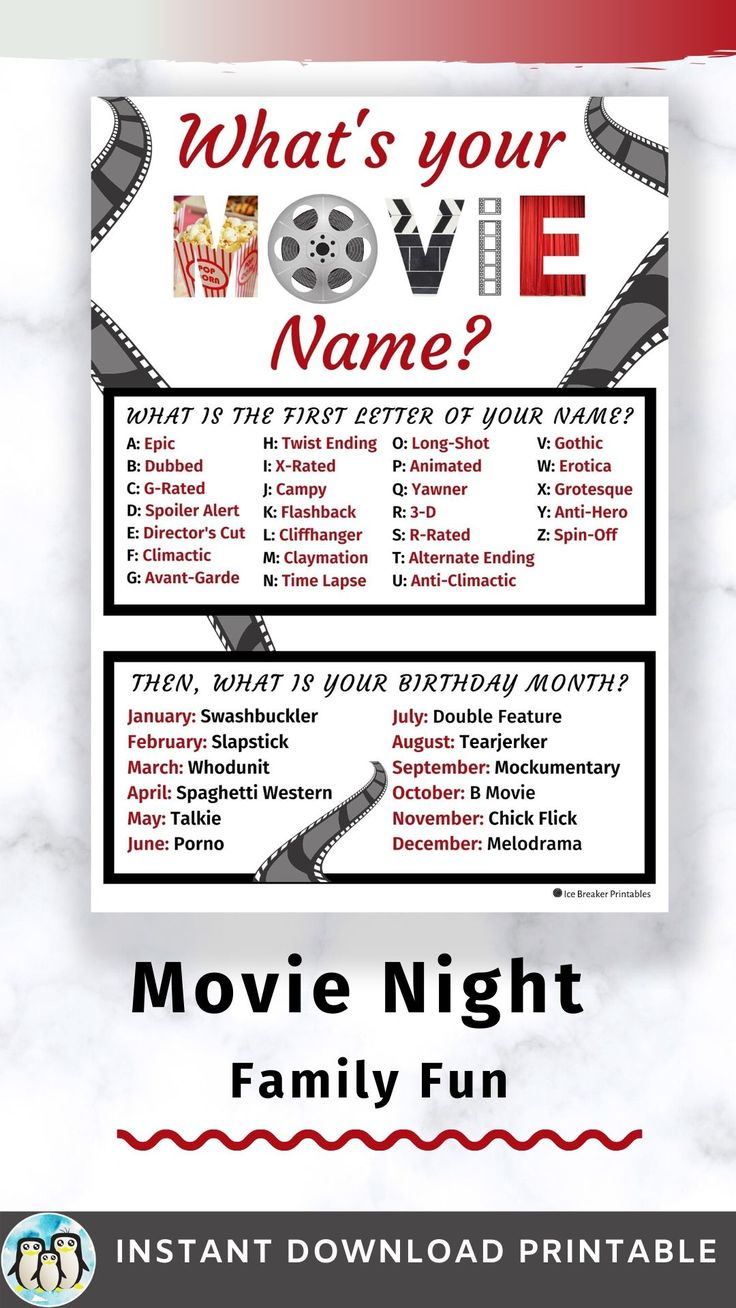 Movie Night Party Game Movie Birthday Party Awards Party Or Red Carpet Party Instant Download Printable Whats Your Name Game In 2021 Funny Name Generator Name Games Movie Night Party Games