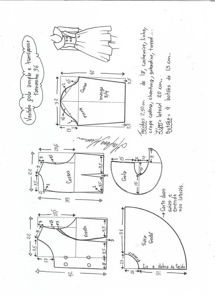Esquema de modelagem de vestido gola ampla tamanho 36.