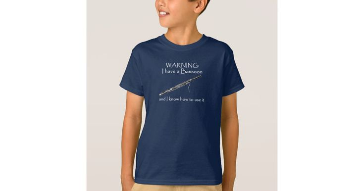 One of our most popular slogans, applied to the bassoon. Now give 'em fair warning: You have a bassoon, and you know how to use it! This humorous shirt, with a line-art drawing of a bassoon, will be a great gift for yourself or any bassoon player in your life.