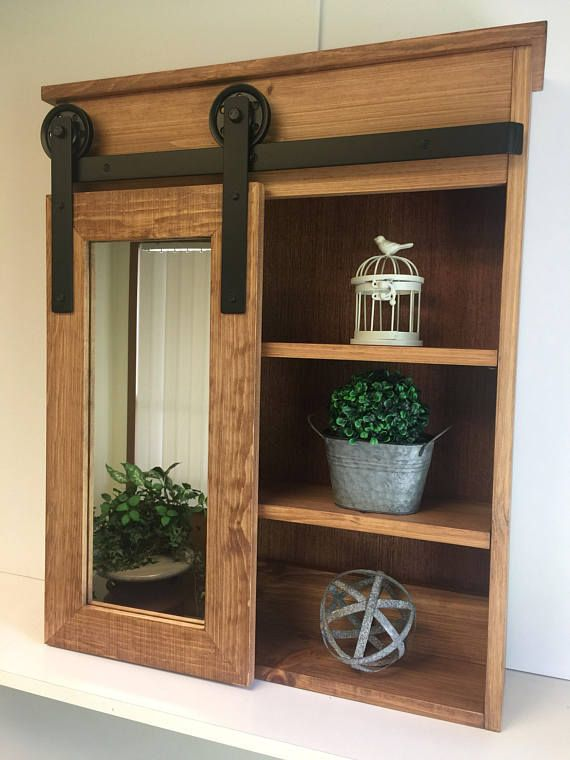 I Love This Barn Door Cabinet It Is Perfect For Our Rustic Home Commissionlink Diy Sliding Barn Door Farmhouse Medicine Cabinets Medicine Cabinet Makeover
