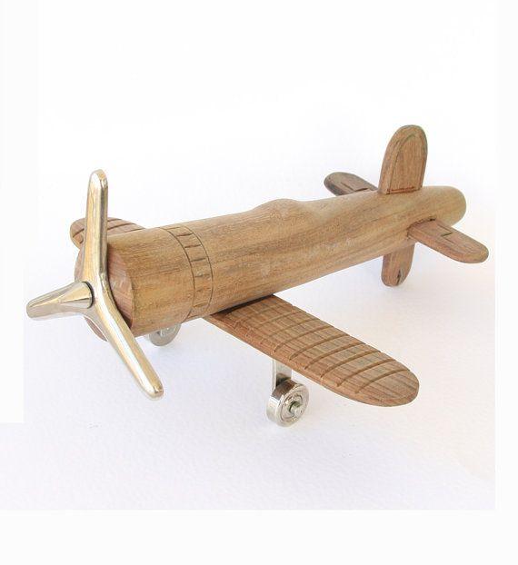 Vintage Spielzeugflugzeug aus Holz und Metall großes Flugzeug altes Flugzeug Holz Kunst Skulptur Antikes Modell Flugzeug Dekor Flugzeug Geschenk – its wood