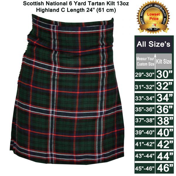 Men/'s 6 Yard/'s Scottish Traditional Black  Tartan Highland Kilt