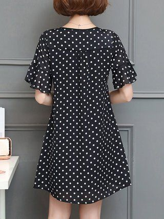 Black A-line Bell Sleeve Polka Dots Plus Size Plus Size Casual Dress