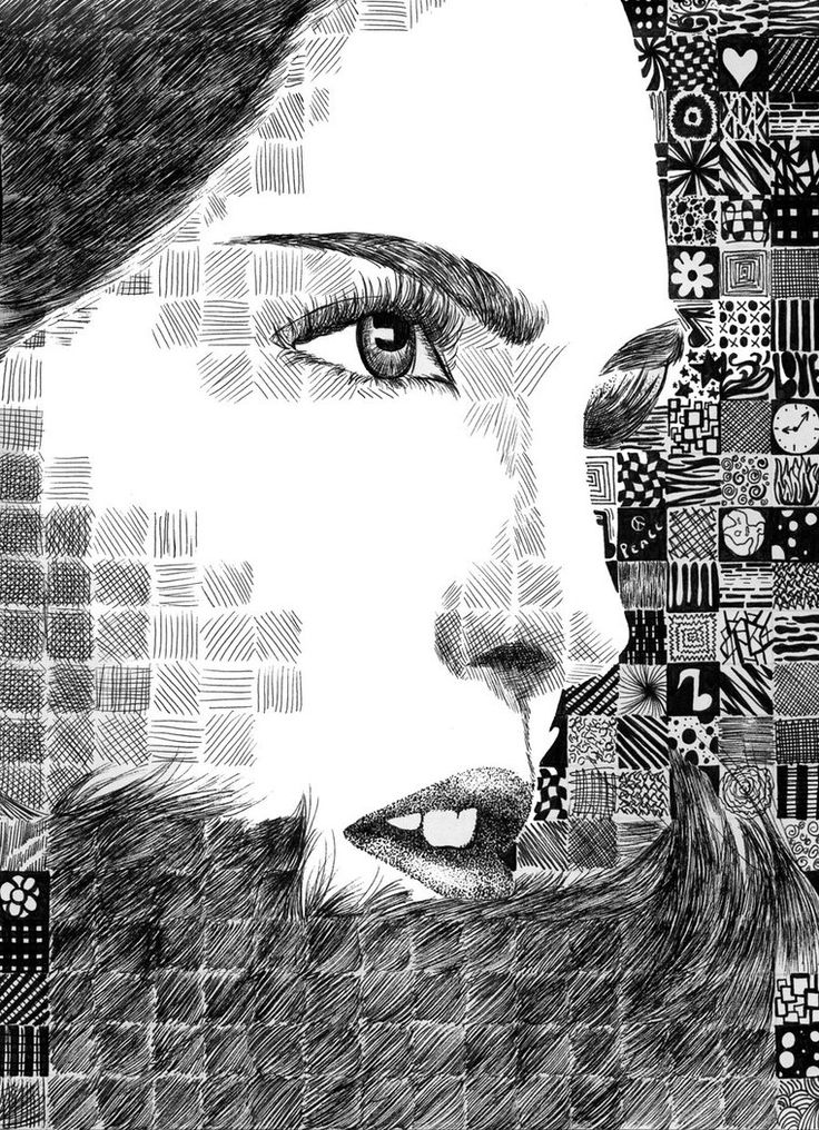Grid Pattern Portrait by randomWaffle123 on deviantART. cross hatching pattern and tone