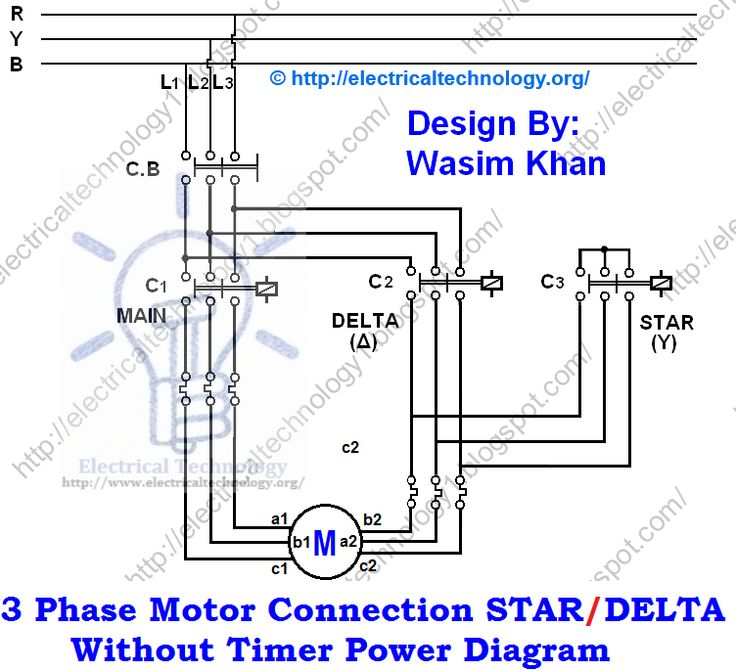 3 Phase Electric Motor Wiring Diagram : Three phase motor connection star delta without timer
