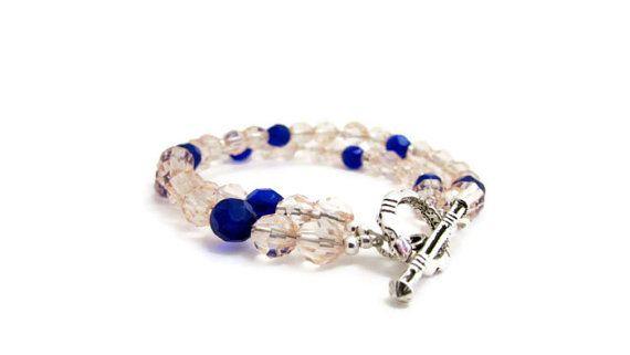 Crystal bead bracelet peach and royal blue by KimsHandmadeCave, £13.00