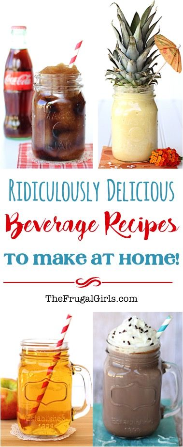 HUGE List of Ridiculously Delicious Beverage Recipes! ~ from TheFrugalGirls.com ~ from Smoothies and Slushies, to Cocoa and Cider... you'll LOVE making your favorite splurge beverages for a fraction of the cost at home!