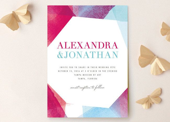 geometric watercolor invitation from Minted