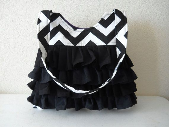 Chevron Purse with Ruffles Diaper Bag Made To by Wishfulgifts, $40.00