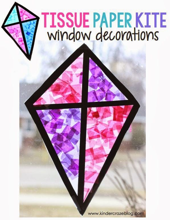 """kite """"stained glass"""" window craft made with tissue paper and clear contact paper"""