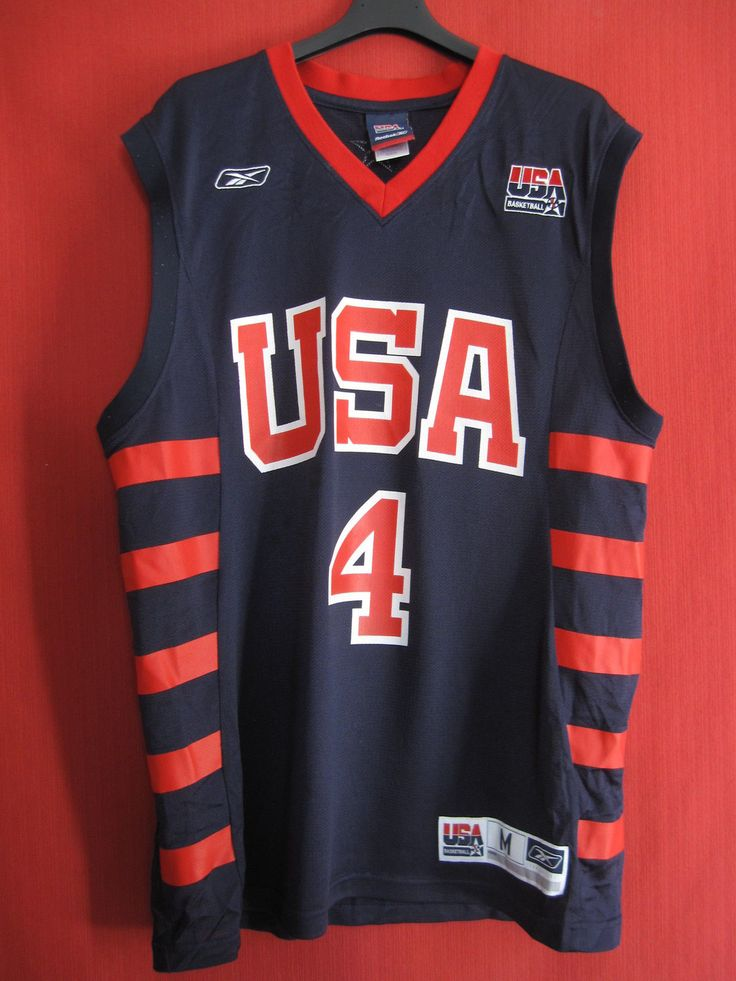 Maillot Basket Reebok United State Oldschool USA Away N° 4 M | eBay