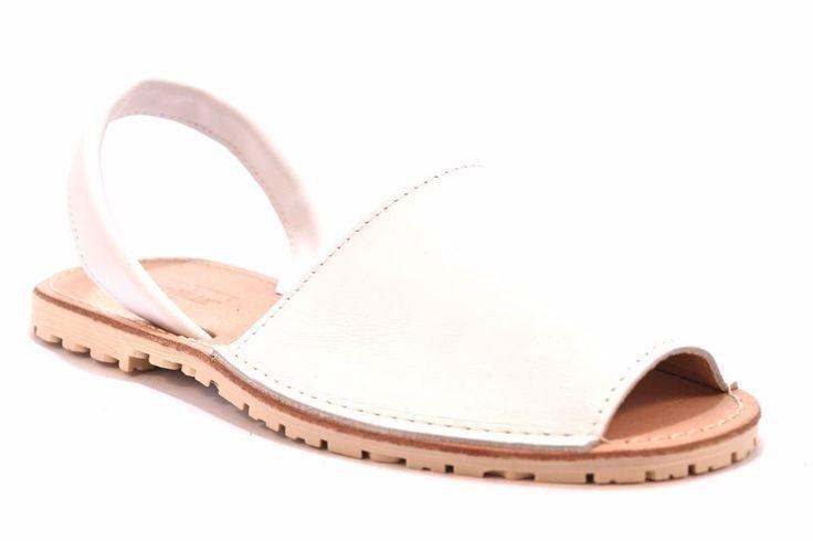 DIVINE FOLLIE MENORCA BIANCO 002 Sandalo Ciabatta Piatto Donna Minorchina Pelle
