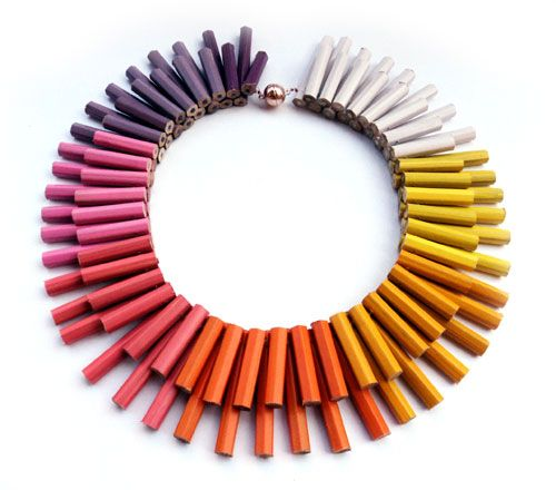 Margherita Marchioni Necklace: Untitled 2013 Coloured pencils.  Look at all of her cool necklaces.