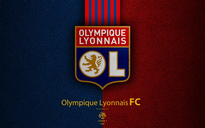 Download wallpapers Olympique Lyonnais FC, 4K, French football club, Ligue 1, leather texture, OL logo, emblem, Lyon, France, football
