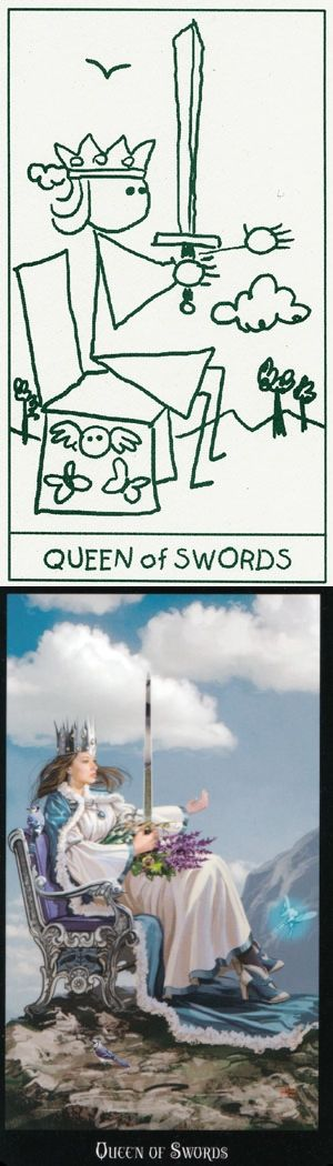 Queen of Swords: independent and clever (reverse). Stick Figure Tarot deck and Witches Tarot deck: tarot cards prediction, tarot free on line and free tarot reading divination. The best magic tricks and predictions future. #chariot #tower #tattoo #magician #application #trickortreat