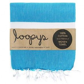 Caribbean Blue and White Stripe Turkish Towel.  Looks good wherever it appears.  Premium quality made by Loopys
