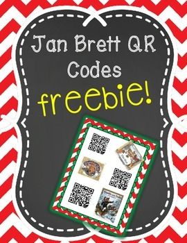 **FREEBIE**These QR Readers can be used for your listening center holiday stories!! Display in a binder or on a ring for students to pick a Jan Brett holiday story to listen to.  All six are read alouds.  If you like these check out my holiday and winter QR listening center for more seasonal read alouds!