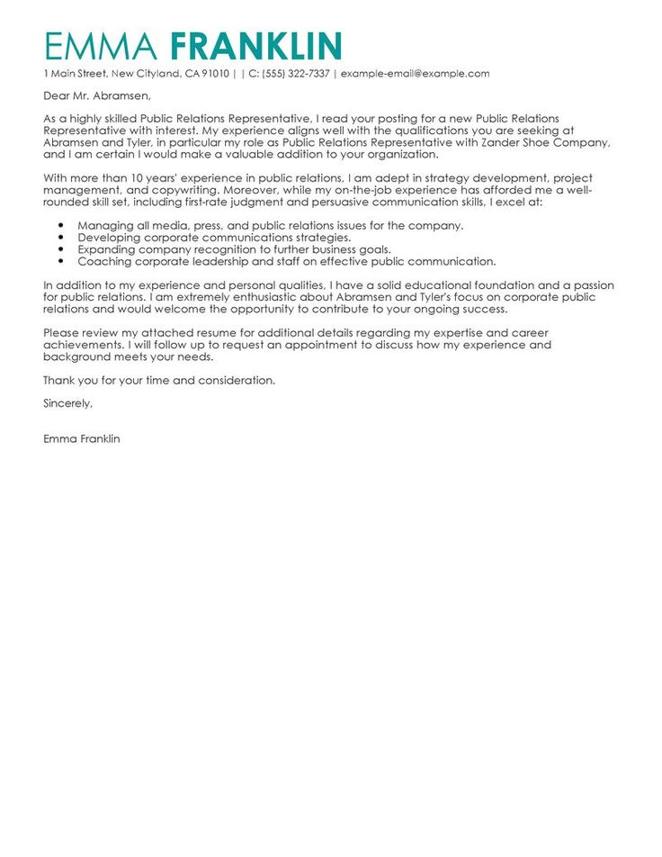 best public relations cover letter examples livecareer tips for