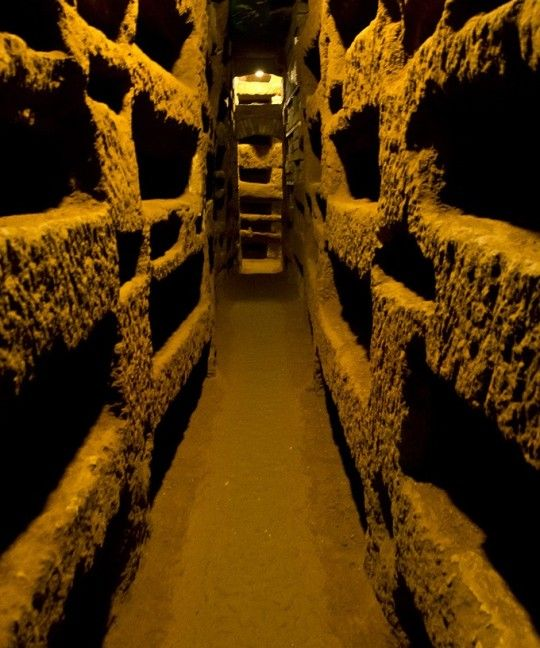 Inside the St. Callixtus catacombs in Rome
