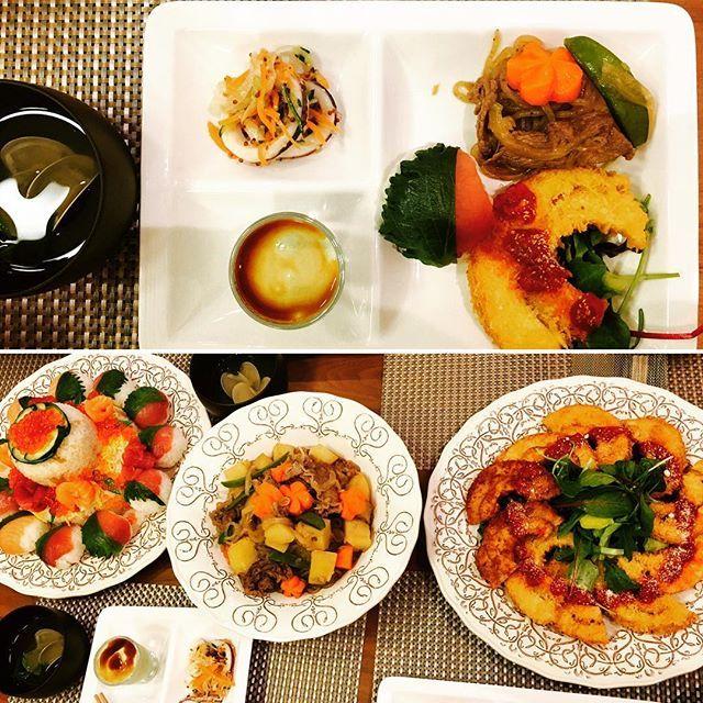 riomarocrecaazu#ひな祭り #初節句 #手毬寿司  #ちらし寿司 #おうちごはん #おふのフライ #肉じゃが #イカと玉ねぎのマリネ #アボカド豆腐 1歳の孫娘の少し遅めの初節句に招待されました 息子の嫁の手作り料理を美味しく頂き、楽しい時間を過ごせて幸せでした❣