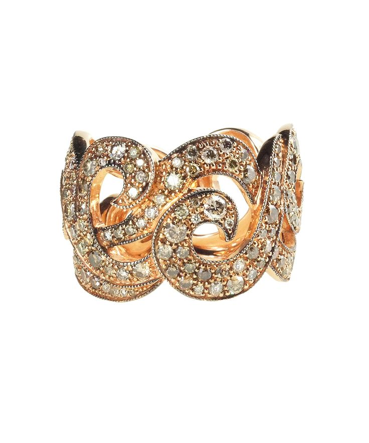 """Arabesque"" band with cognac diamonds by Rodney Raynor"