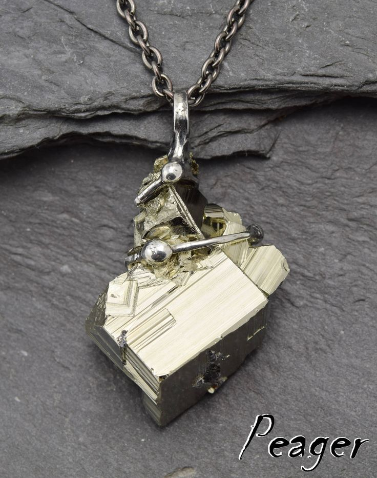 Pyrite necklace,Natural Pyrite Pendant,men pendant,Heart chakra necklace,women pendant,Metalwork jewelry,Gemstone Bohemian Pendant,peager by PeagerFantasyWorld on Etsy