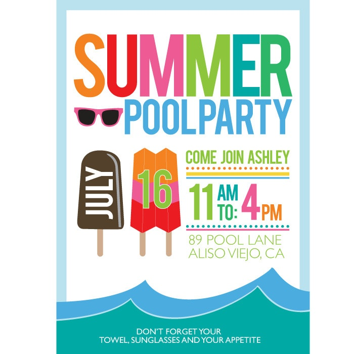 17 best images about Pool party invitation – Summer Party Invite