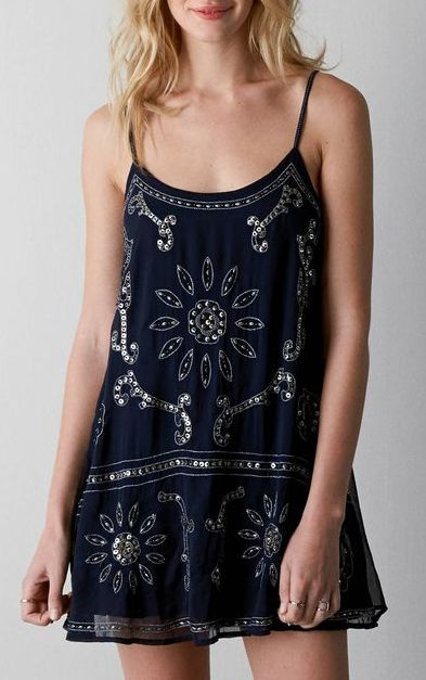 Navy AEO Sequined Chiffon Slip Dress