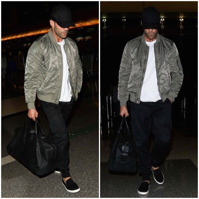 Blazers In Statham: Jason-Statham-wears-Rag-and-&-Bone-Quilted-Bomber-Jacket
