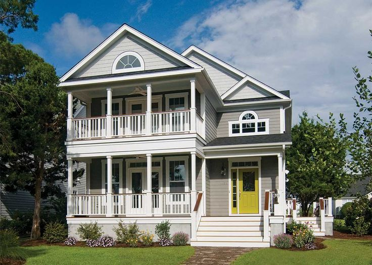 Charleston-Style House #Design - The symmetrical, #narrow, two-story configuration was originally adapted 1) for the smaller lot sizes on Charleston harbor and 2) to promote cooling air flow during the thick, stagnant summer days on the Carolina coast. Learn more on our house plans blog! http://houseplansblog.dongardner.com/dream-house-plans/.  #HousePlansBlog