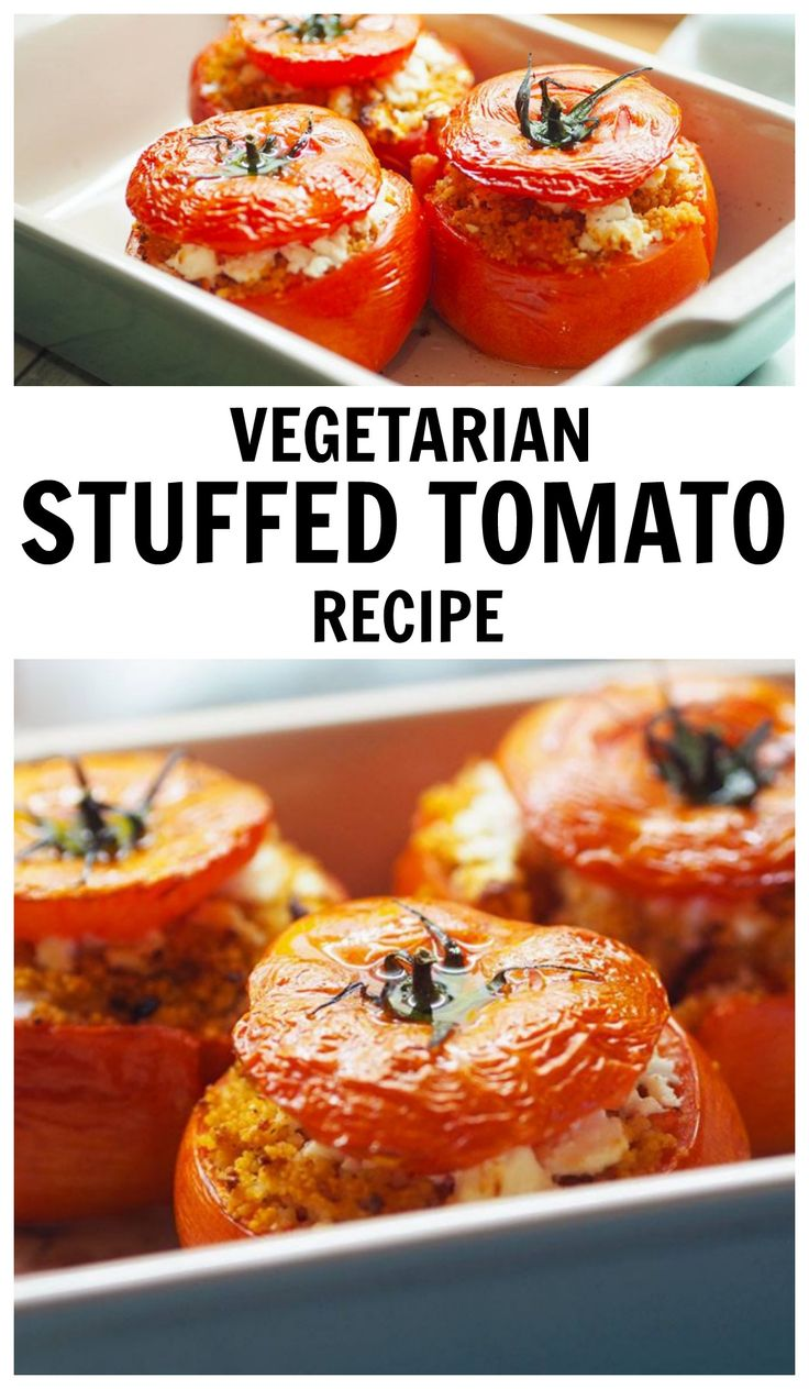 Vegetarian Stuffed Tomato Recipe with Cous Cous and Feta