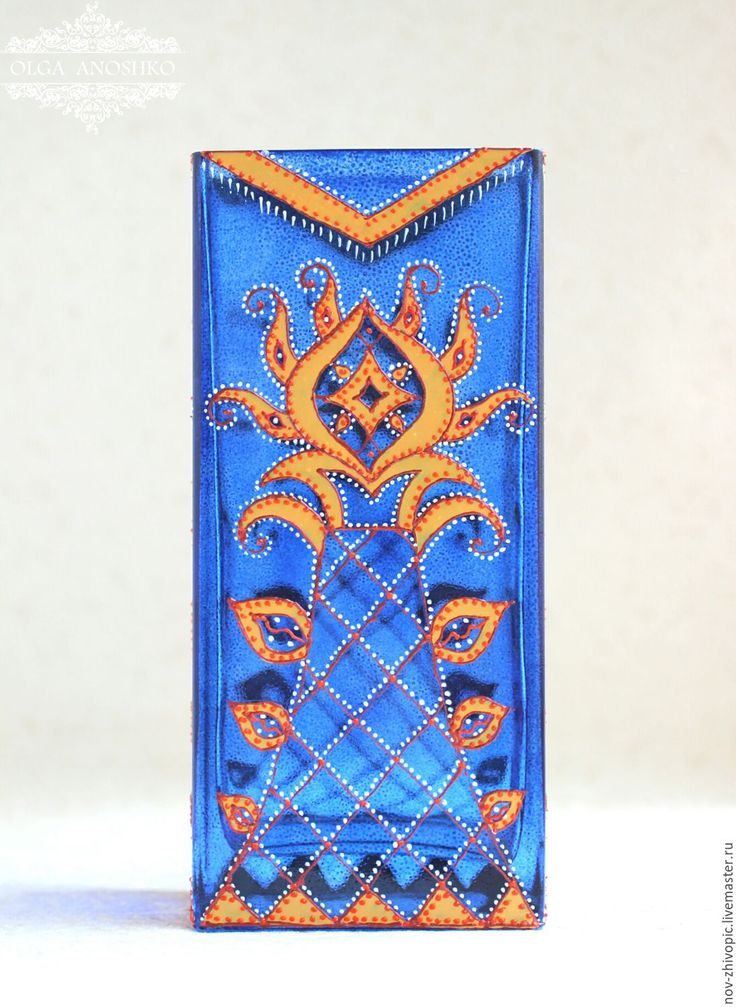 "Купить Ваза ""Арабески"". Роспись по стеклу. - ваза, ваза для цветов, ваза декоративная, ваза для сухоцветов"