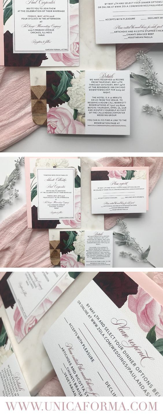 Burgundy and blush floral vintage wedding invitations