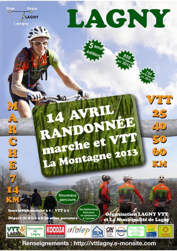 Raid VTT de Lagny le dimanche 14 avril 2013, venez nombreux encourager les quelques 850 participants.