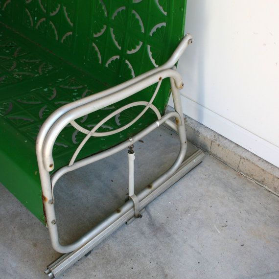 Spring Green Vintage Glider. Metal Bench. Industrial Home