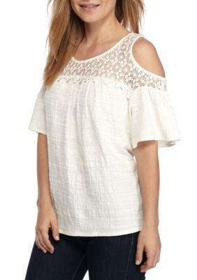 New Directions Women's Petite Size Crochet Cold Shoulder Top -  - No Size
