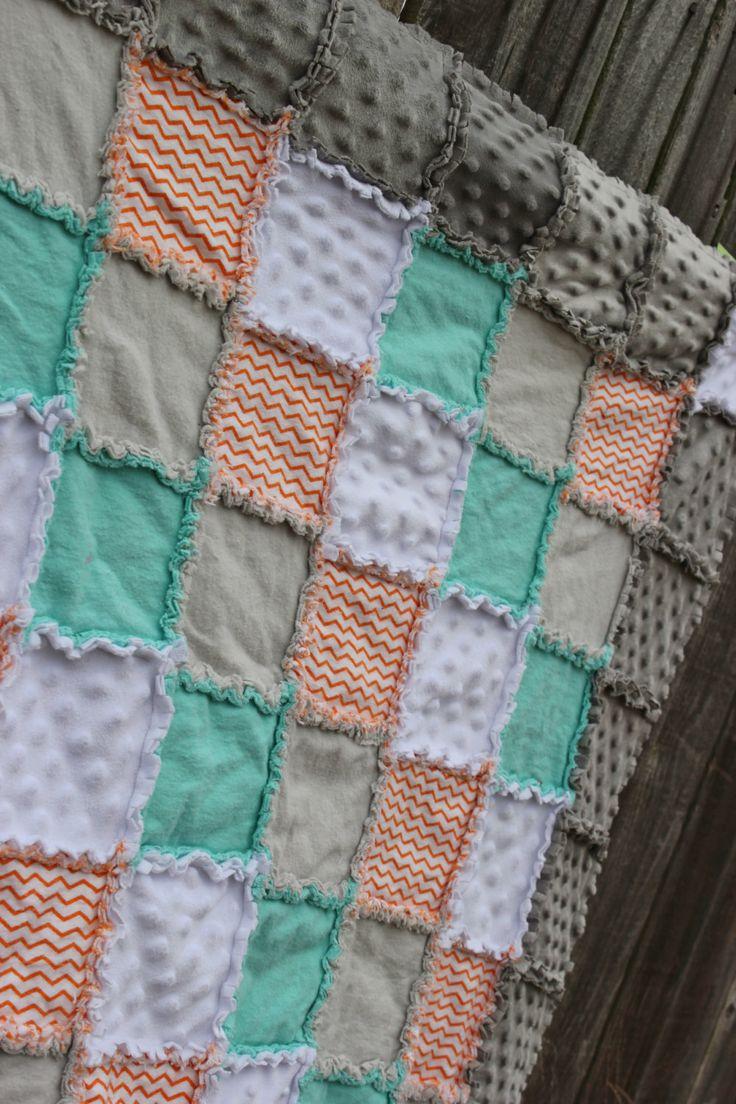 Orange Aqua & Grey Rag Quilt/Blanket Orange CHEVRON by BabyBazerk, $75.00