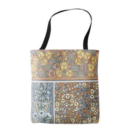 Vintage Floral Art Nouveau Arrowhead Flowers Tote Bag - retro gifts style cyo diy special idea