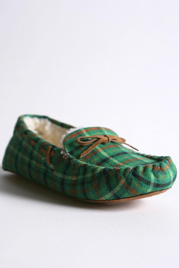 Urban Outfitters Plain Mocassin Slipper- Green Plaid