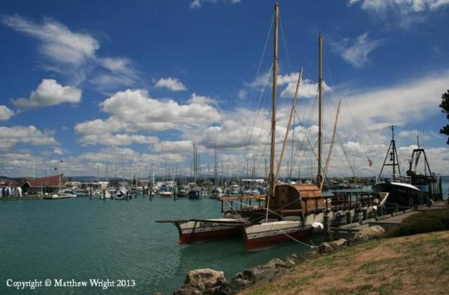 I took this picture of an ocean-going waka in Ahuriri harbour, Napier. Earlier in 2012 I spent hours at Awarua harbour, Rarotonga, waiting for this and several others to arrive.