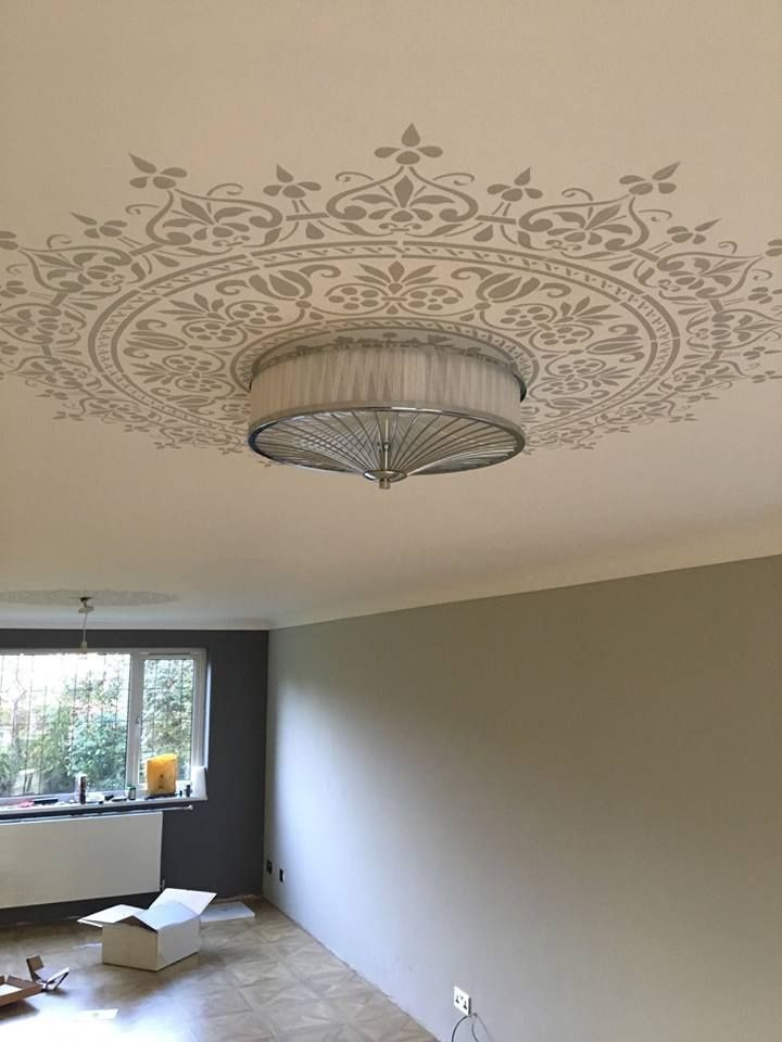 Use the Prosperity Mandala Stencil from Cutting Edge Stencils as a medallion around a light fixture. Project by Bespoke Decorative Finishes http://www.cuttingedgestencils.com/prosperity-mandala-stencil-yoga-mandala-stencils-designs.html
