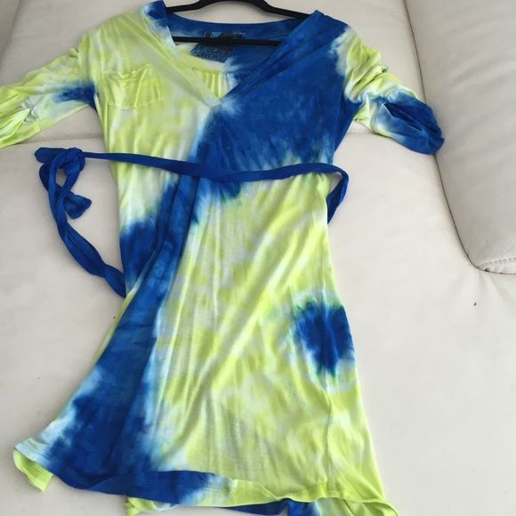 young fabulous and broke tie dye dress Yellow and blue tie dye tee shirt dress from YFB, great color combo. Worn a few times . Young Fabulous & Broke Dresses Mini