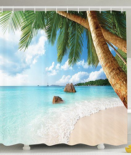 ambesonne bathroom decor collection palm trees on tropical island beach panoramic view picture. Black Bedroom Furniture Sets. Home Design Ideas
