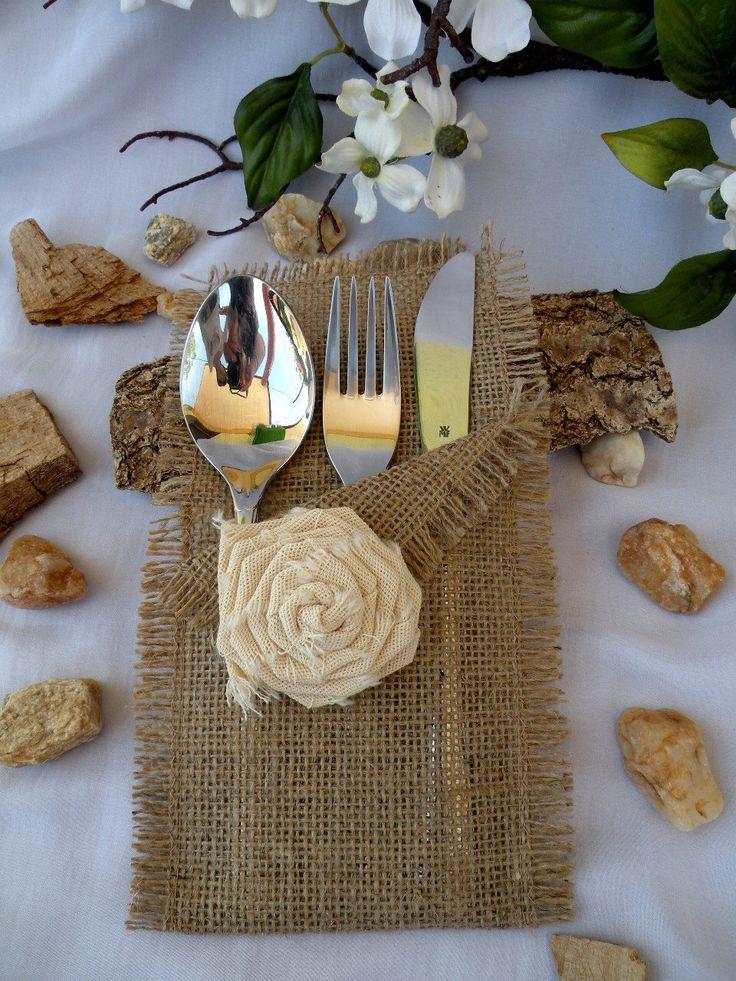 Set of 25 Silverware Holders / Burlap Silverware Holders / Rustic table decor /  Wedding Table / rustic flatware / table decor by MyBurlapStudio on Etsy https://www.etsy.com/listing/190096037/set-of-25-silverware-holders-burlap