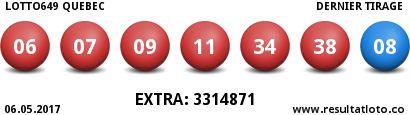 Lotto Quebec 649 06.05.2017   - Resultat du Tirage - http://www.resultatloto.co/lotto-quebec-649-06-05-2017-resultat-du-tirage/