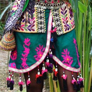 India - skirt - green shell