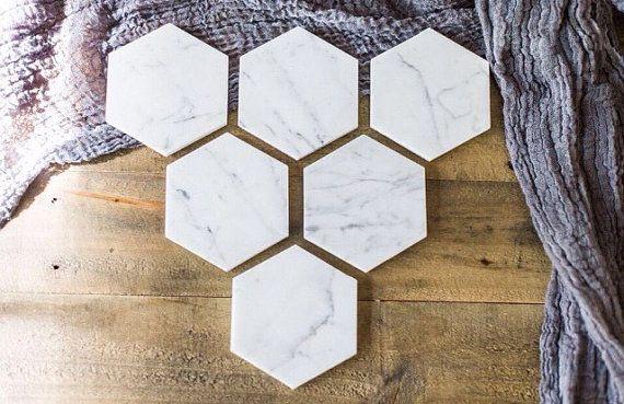 BLACK FRIDAY VENTE / / Six sous-verres en marbre / / hexagone marbre sous-verres / / lot de 6 sous-verres //geometric / / géométrique des faveurs de mariage
