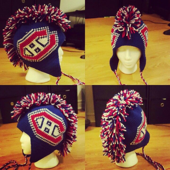 Montreal Canadiens faux hawk hat I crocheted for my great nephew